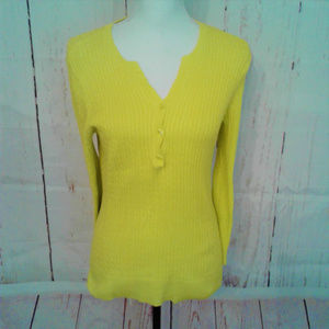 Jeanne Pierre Yellow Ribbed V Neck Sweater Medium